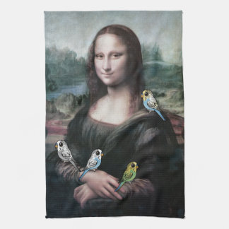Mona Lisa & Budgies Towel