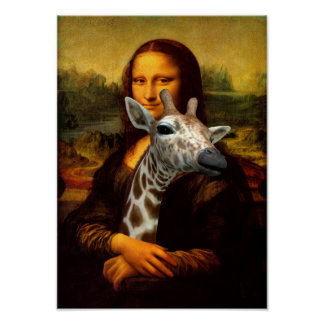 Mona Lisa Cares About Giraffes Poster