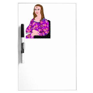 Mona Lisa Cartoon Image Dry Erase Board
