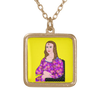 Mona Lisa Cartoon Image Gold Plated Necklace