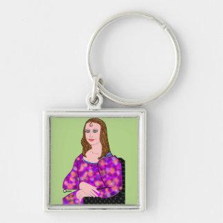 Mona Lisa Cartoon Image Keychain
