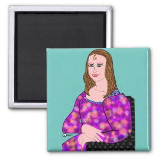 Mona Lisa Cartoon Image Square Magnet