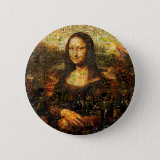 mona lisa collage - mona lisa mosaic - mona lisa 2 inch round button