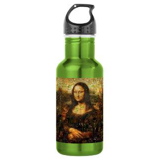 mona lisa collage - mona lisa mosaic - mona lisa 532 ml water bottle