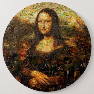 mona lisa collage - mona lisa mosaic - mona lisa 6 inch round button