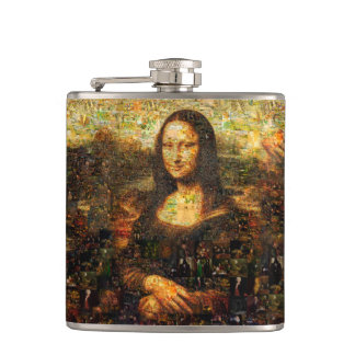 mona lisa collage - mona lisa mosaic - mona lisa hip flask
