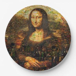 mona lisa collage - mona lisa mosaic - mona lisa paper plate