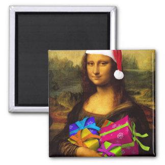 Mona Lisa Comes As Santa Claus Magnet