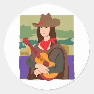 Mona Lisa Cowgirl Classic Round Sticker