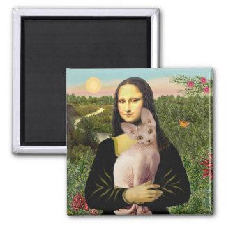 Mona Lisa - Cream Sphynx cat Square Magnet
