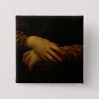 Mona Lisa, detail of her hands, c.1503-06 2 Inch Square Button