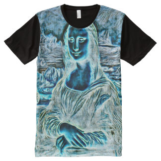 Mona Lisa Haunted Version Portrait All-Over-Print T-Shirt