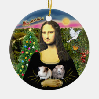 Mona Lisa & her Two Guinea Pigs Round Ceramic Ornament