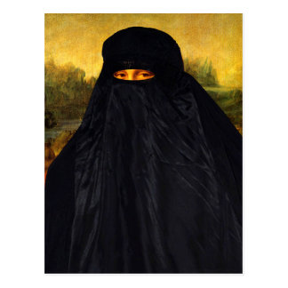 Mona Lisa Hidden Behind Burqa Postcard