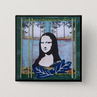 Mona Lisa in the Country 2 Inch Square Button