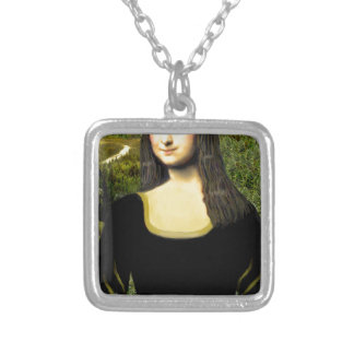 Mona Lisa - insert a pet (#2) Silver Plated Necklace