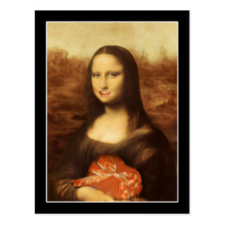 Mona Lisa Likes Valentine s Candy Postcard