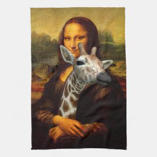 Mona Lisa Loves Giraffes Kitchen Towel