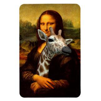 Mona Lisa Loves Giraffes Rectangular Photo Magnet