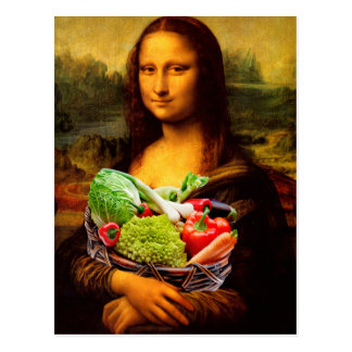 Mona Lisa Loves Vegetables Postcard