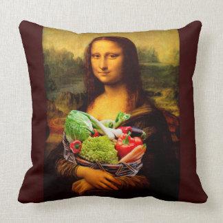 Mona Lisa Loves Vegetables Throw Pillow