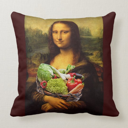 Mona Lisa Loves Vegetables Throw Pillow