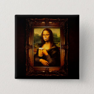 Mona lisa - mona lisa beer  - funny mona lisa-beer 2 inch square button