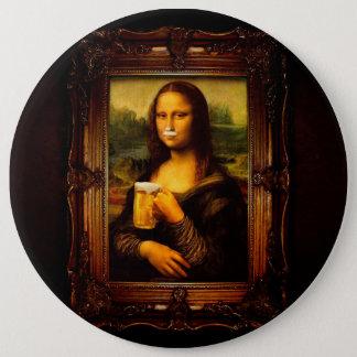 Mona lisa - mona lisa beer  - funny mona lisa-beer 6 inch round button