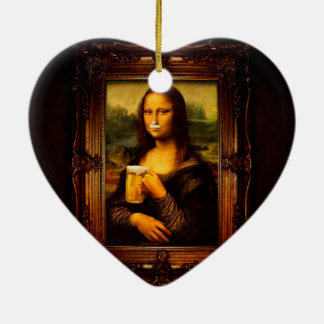 Mona lisa - mona lisa beer  - funny mona lisa-beer ceramic ornament