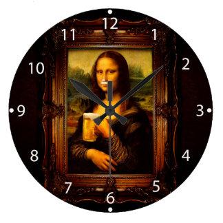 Mona lisa - mona lisa beer  - funny mona lisa-beer large clock