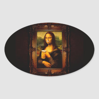 Mona lisa - mona lisa beer  - funny mona lisa-beer oval sticker
