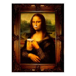 Mona lisa - mona lisa beer  - funny mona lisa-beer postcard