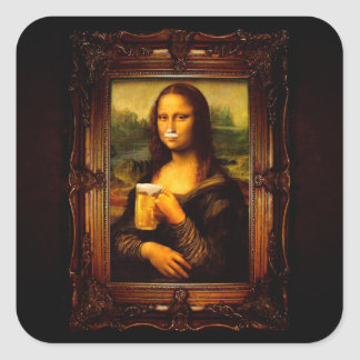 Mona lisa - mona lisa beer  - funny mona lisa-beer square sticker