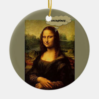 Mona Lisa Porcupines Ceramic Ornament