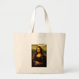 Mona Lisa Porcupines Large Tote Bag