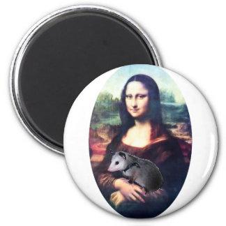 Mona Lisa Possum 2 Inch Round Magnet