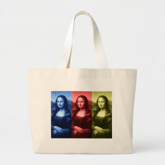 Mona Lisa Primary Colors Large Tote Bag