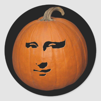 Mona Lisa Pumpkin Classic Round Sticker