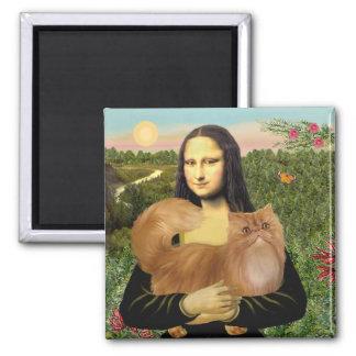 Mona Lisa - Red Persian cat Square Magnet