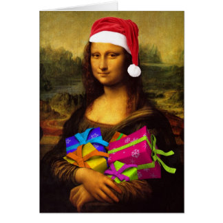 Mona Lisa Santa Claus Card