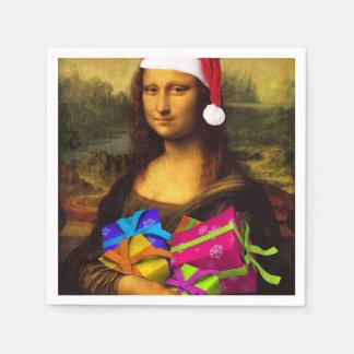 Mona Lisa Santa Claus Paper Napkins