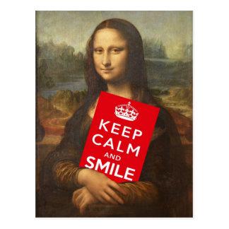 Mona Lisa Says Keep Calm And Smile Postcard