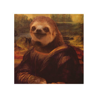 Mona Lisa Sloth Wood Print