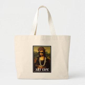 Mona Lisa Thug Life Art Life Large Tote Bag