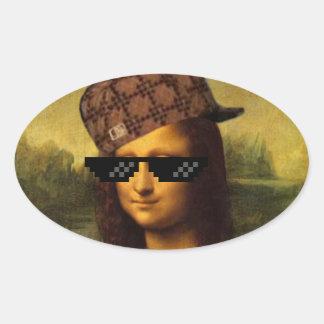Mona Lisa Thug Life Art Life Oval Sticker
