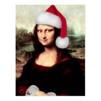 Mona Lisa utilisant un chapeau de Père Noël ajout Carte Postale