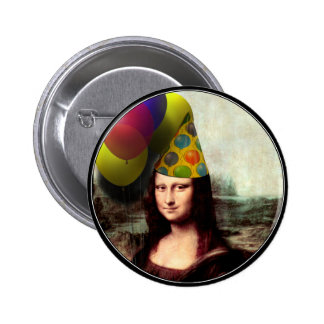 Mona Lisa Wearing Party Hat 2 Inch Round Button