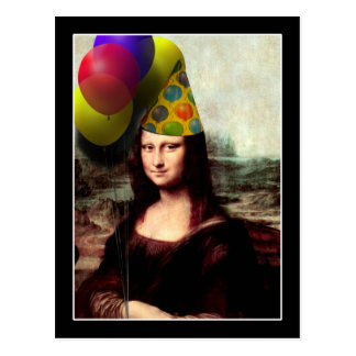 Mona Lisa Wearing Party Hat (Add Your Text) Postcard