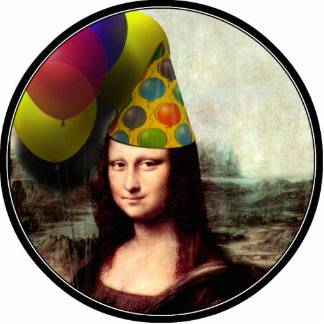 Mona Lisa Wearing Party Hat Standing Photo Sculpture