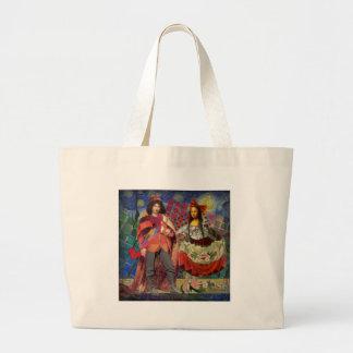 Mona Lisa Whimsical Large Tote Bag